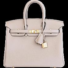 Hermes Gris Tourterelle Baby Birkin Dove Grey 25cm Togo Gold GHW Jewel