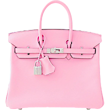 Hermes Rose Sakura Pink 25cm Swift Leather Birkin Satchel Bag Jewel