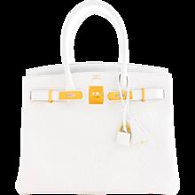Hermes White Gold 30cm Birkin Bag GHW Rare Superb