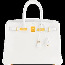 Hermes White Gold 35cm Birkin GHW Fresh 2016 Bag Interior X Stamp Hamptons!
