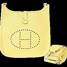 Hermes Jaune Poussin Evelyne PM Messenger Leather Bag Perfect for Summer!