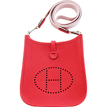 Hermes Rouge Pivoine Evelyne Rose Sakura Canvas Strap TPM So Sweet