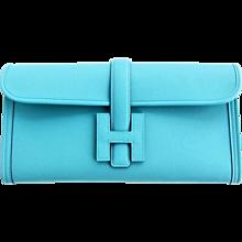 Hermes Blue Atoll Jige Elan 29cm Swift Clutch Bag Stunning