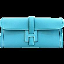 Hermes Blue Saint Cyr Jige Elan Clutch Bag Robin Egg Blue Charming
