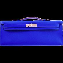 Hermes Blue Electric Epsom Kelly Cut Clutch Bag Fabulous