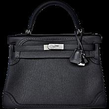 Hermes Black Ghillies Limited Edition 32cm Kelly Togo Swift Shoulder Bag Rare