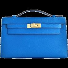 Hermes Blue Izmir Gold Kelly Pochette Epsom GHW Clutch Cut Bag Insane