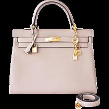 Hermes Gris Tourterelle Togo Dove Grey Kelly 35cm Gold Shoulder Bag Elegant