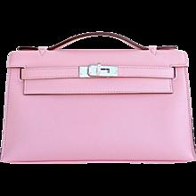 hermes rose confetti pink silk in wallet silk interior della ...