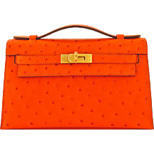 Hermes Tangerine Ostrich Exotic Mini Kelly Pochette Gold Hardware Orange Amazing