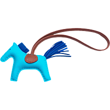 Hermes Blue Aztec Blue Electric Fauve Rodeo Horse Charm PM Small Rare Color