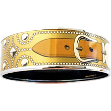 Hermes Gold CDC Printed Enamel Bracelet Bangle Collier de Chien