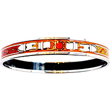 Hermes Orange White Printed Enamel Bracelet Bangle 70