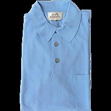 Hermes Ciel Sky Blue Men's Polo Short Sleeve Large Summer