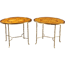 A Pair of English Oval Inlaid Side Tables on Modernist Bases