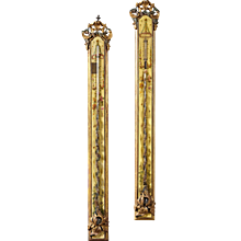 A Highly Decorative Pair of 18th Century French Louis XVI Painted Stick Barometers