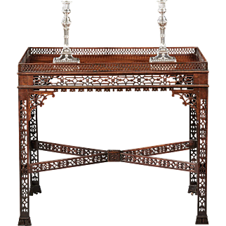 A Remarkable 18th Century English Chippendale Mahogany Fretwork Tea Table