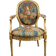 A 18th Century English George III Adam Period Giltwood Armchair With Period Needlepoint