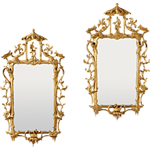 A Pair of 18th Century English Chinese Chippendale Giltwood Mirrors