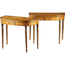 A Pair of English or American Maple Inlaid Card Tables