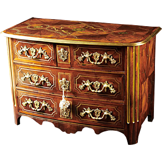 An 18th Century French Regence Period Brass Inlaid and Kingwood Commode