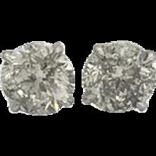 4.14 Carats Diamond Stud Earrings