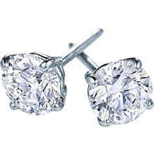 4.14 Ctw Diamond Studs Earrings in 18kt White Gold