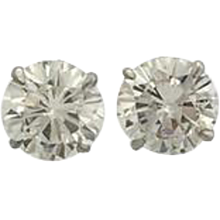 4.08 Carats Diamonds Gold Stud Earrings