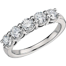 1.63 Carats Diamonds Eternal Diamond Platinum 5 Stone Ring