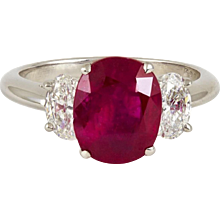 3.90 Carats Cushion Natural No Heat Ruby Diamonds Platinum Ring