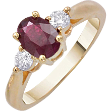 1.03ct. Oval Ruby Round Diamond Gold Ring