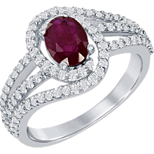 Oval Ruby Ring With Diamond Micro-pave Setting