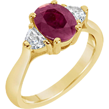 Oval Ruby w/ Half Moon Diamonds Three-Stone Ring