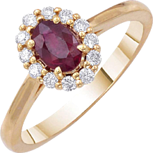 Oval Ruby Diamond Ring 0.70 Carats