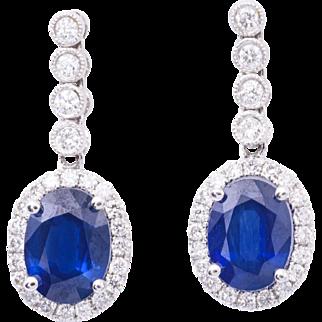 2.90 Carat Oval Shape Sapphire Diamond White Gold Dangle Earrings