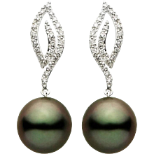 Candle Flame Tahitian Pearl Diamond Gold Earrings