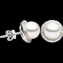 Freshwater Pearl & Diamond Halo White Gold Stud Earrings