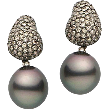 Tahitian Pearl Champagne Diamond Gold Earring: Prince Diamond