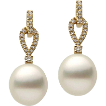 Yellow Gold Pearl and Diamond Dangle Drop Earring