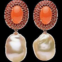 Orange Moonstone Orange Blue Sapphire Fresh Water pearl Earring