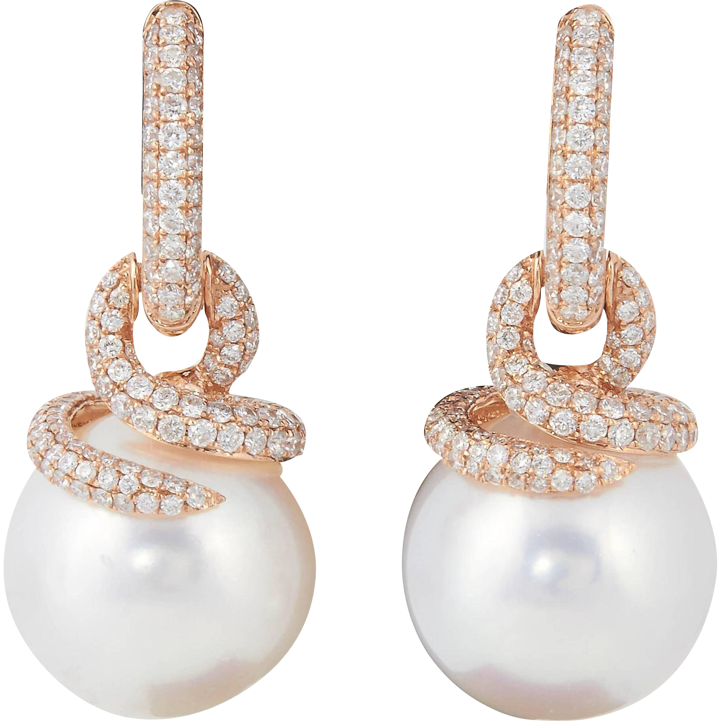 South Sea Pearl and Diamond Earring from prince dia inc on RubyLUX