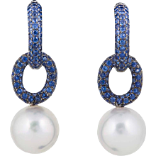 White South Sea Pearl & Sapphire Double Hoop Earrings