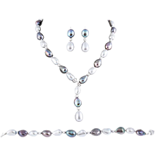 Fresh Water Black & Grey Lariat Necklace, Bracelet & Earrings Set