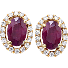 1.27 Ctw. Oval Ruby & Diamonds Gold Earrings