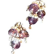 Seaman Schepps Double Amethyst Diamond Gold Pins