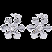 Bulgari Diamond Gold Snowflake Earrings