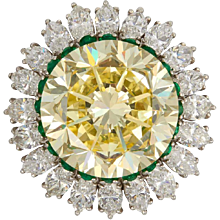 Natural Fancy Intense 22.77 Carat Yellow Diamond Platinum Ring