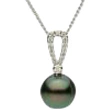 14K Tahitian Pearl and Diamond Pendant