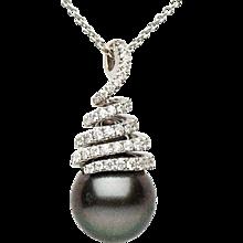 18K tahitian Pearl & Diamond Pendant
