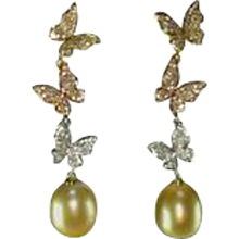 Natural Color South Sea and Golden Pearl Diamond Gold Butterfly Earrings